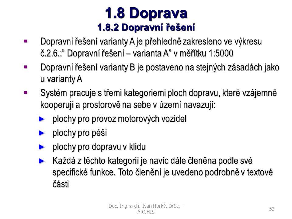Doc. Ing. arch. Ivan Horký, DrSc. - ARCHIS 53 1.8 Doprava 1.8.2 Dopravní řešení  Dopravní řešení varianty A je přehledně zakresleno ve výkresu č.2.6.