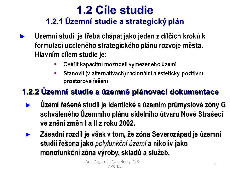 Doc. Ing. arch. Ivan Horký, DrSc. - ARCHIS 7 1.2 Cíle studie 1.2.1 Územní studie a strategický plán ► Územní studii je třeba chápat jako jeden z dílčí