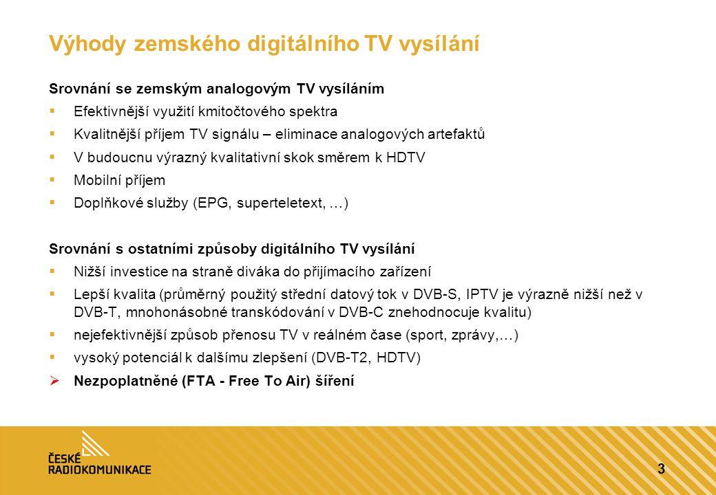 3 Výhody zemského digitálního TV vysílání Srovnání se zemským analogovým TV vysíláním  Efektivnější využití kmitočtového spektra  Kvalitnější příjem TV signálu – eliminace analogových artefaktů  V budoucnu výrazný kvalitativní skok směrem k HDTV  Mobilní příjem  Doplňkové služby (EPG, superteletext, …) Srovnání s ostatními způsoby digitálního TV vysílání  Nižší investice na straně diváka do přijímacího zařízení  Lepší kvalita (průměrný použitý střední datový tok v DVB-S, IPTV je výrazně nižší než v DVB-T, mnohonásobné transkódování v DVB-C znehodnocuje kvalitu)  nejefektivnější způsob přenosu TV v reálném čase (sport, zprávy,…)  vysoký potenciál k dalšímu zlepšení (DVB-T2, HDTV)  Nezpoplatněné (FTA - Free To Air) šíření