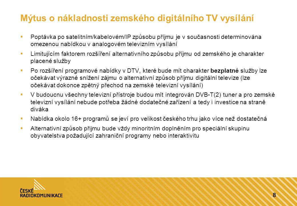 9  Ukázka rozhodování komerčních televizí mezi dvěma hypotetickými sítěmi na hypotetickém televizním reklamním trhu za následujících předpokladů  Velikost televizního reklamního je 8 mld Kč  Prostřednictvím zemského vysíláni televize dosáhne 2% nárůstu sledovanosti oproti pouze satelitnímu šíření  SLA obou sítí je stejné  Sítě se liší POUZE pokrytím  Za předpokladu, že se sítě liší pouze pokrytím by rozhodování televizí v které síti budou vysílat mělo být čistě finanční a založeno na následujícím principu:  Pokud je cena Y za dodatečné pokrytí v síti A nad rámec sítě B nižší než nárůst reklamních výnosů Z, pak se vyplatí síť A s vyšším pokrytím  Pokud je cena Y za dodatečné pokrytí v síti A nad rámec sítě B vyšší než nárůst reklamních výnosů Z, pak se vyplatí síť B s nižším pokrytím  V našem hypotetickém případě vyšel dodatečný reklamní výnos Z 152 milionů Kč Ekonomika dodatečného pokrytí Síť ASíť B Pokrytí95%70% CenaX+YX Velikost reklamního trhu (v mil Kč) Nárůst sledovanosti televize Pokrytí daného trhu sítí A Pokrytí daného trhu sítí B Nárůst výnosů z reklamního trhu v síti A (v mil Kč) 8,0002%95%70%152