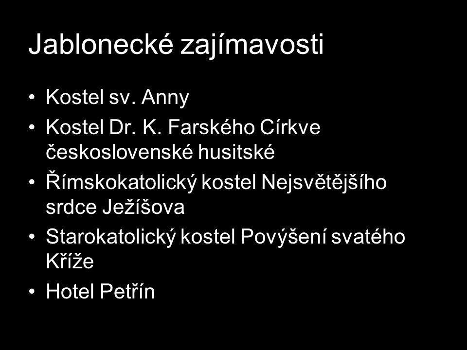 Jablonecké zajímavosti •Kostel sv. Anny •Kostel Dr. K. Farského Církve československé husitské •Římskokatolický kostel Nejsvětějšího srdce Ježíšova •S