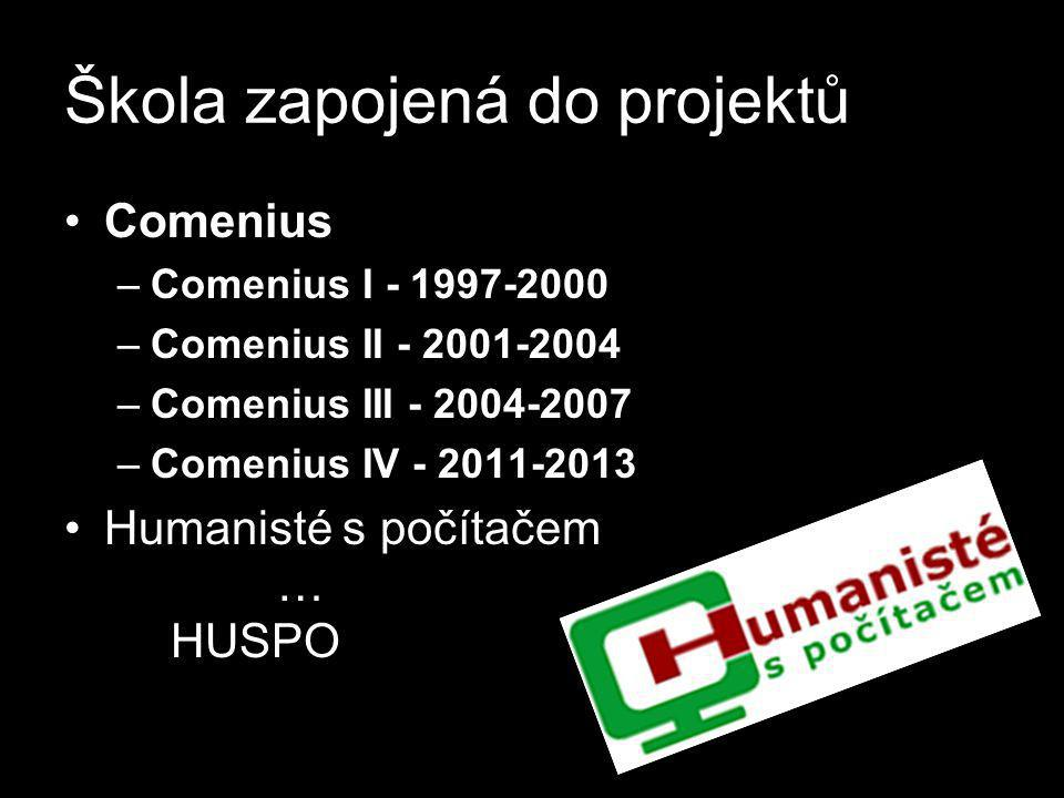 Škola zapojená do projektů •Comenius –Comenius I - 1997-2000 –Comenius II - 2001-2004 –Comenius III - 2004-2007 –Comenius IV - 2011-2013 •Humanisté s počítačem … HUSPO