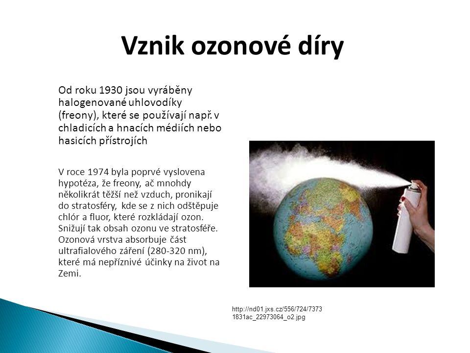 Vznik ozonové díry  Od roku 1930 jsou vyráběny halogenované uhlovodíky (freony), které se používají např. v chladicích a hnacích médiích nebo hasicíc
