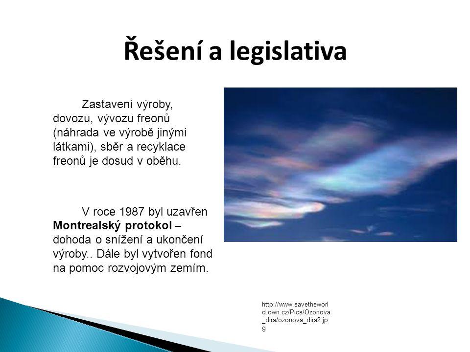 Řešení a legislativa  Zastavení výroby, dovozu, vývozu freonů (náhrada ve výrobě jinými látkami), sběr a recyklace freonů je dosud v oběhu.  V roce