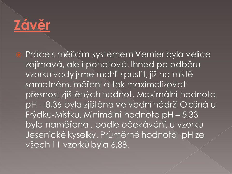 Práce s měřícím systémem Vernier byla velice zajímavá, ale i pohotová. Ihned po odběru vzorku vody jsme mohli spustit, již na místě samotném, měření