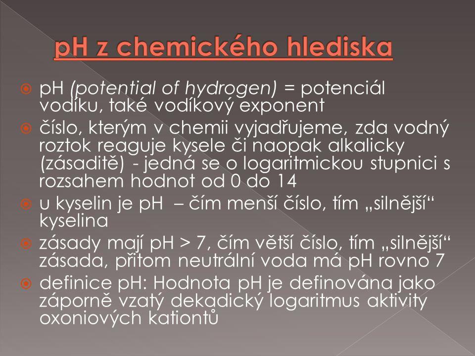  pH (potential of hydrogen) = potenciál vodíku, také vodíkový exponent  číslo, kterým v chemii vyjadřujeme, zda vodný roztok reaguje kysele či naopa
