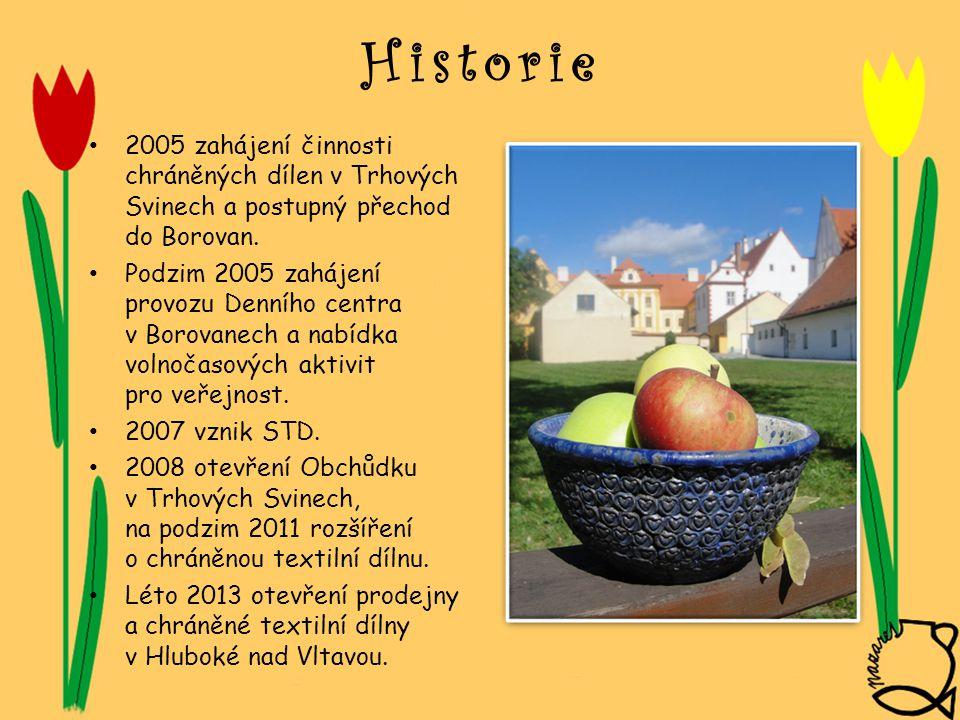 Historie • 2005 zahájení činnosti chráněných dílen v Trhových Svinech a postupný přechod do Borovan. • Podzim 2005 zahájení provozu Denního centra v B