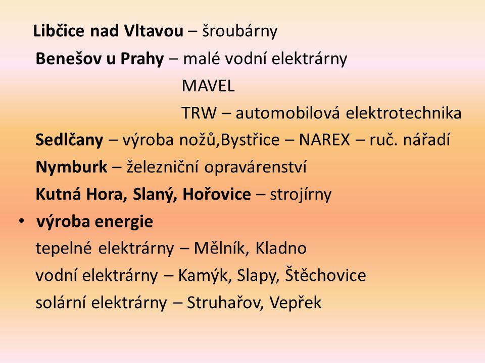 Libčice nad Vltavou – šroubárny Benešov u Prahy – malé vodní elektrárny MAVEL TRW – automobilová elektrotechnika Sedlčany – výroba nožů,Bystřice – NAR