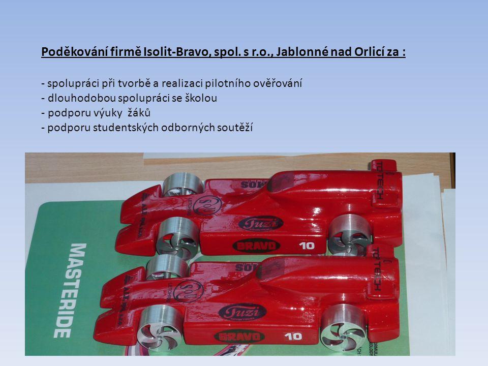 Poděkování firmě Isolit-Bravo, spol. s r.o., Jablonné nad Orlicí za : - spolupráci při tvorbě a realizaci pilotního ověřování - dlouhodobou spolupráci
