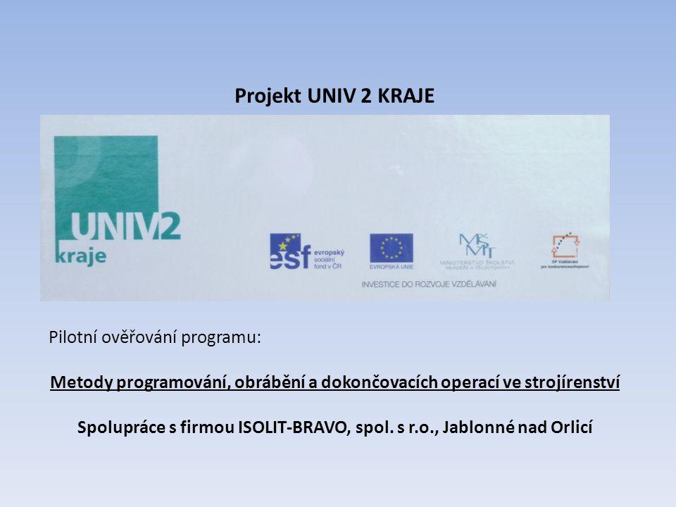 Projekt UNIV 2 KRAJE Pilotní ověřování programu: Metody programování, obrábění a dokončovacích operací ve strojírenství Spolupráce s firmou ISOLIT-BRA