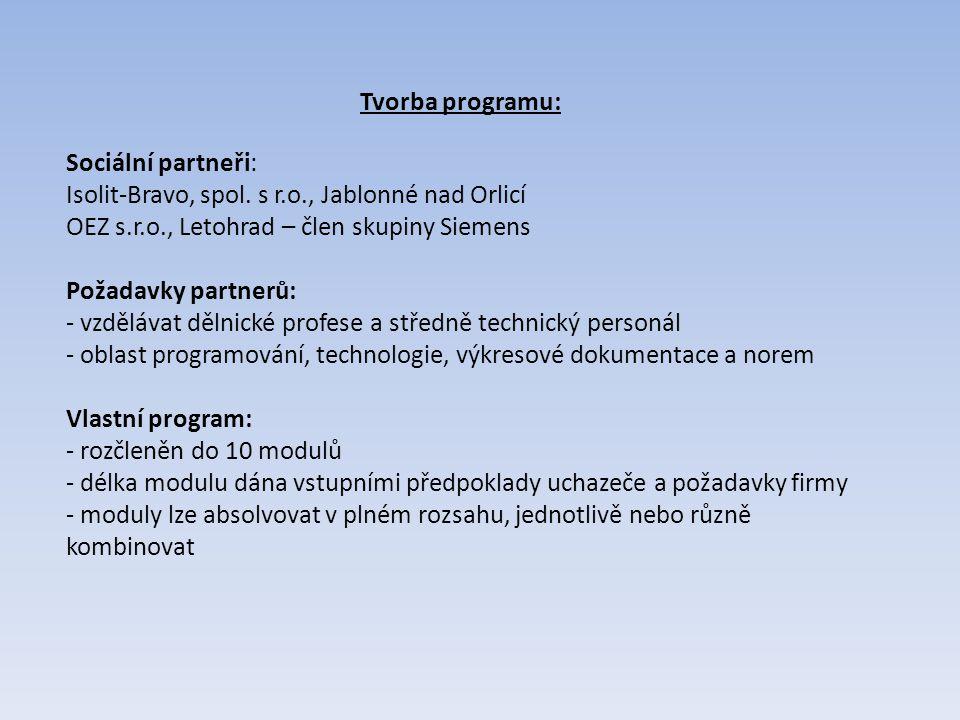 Tvorba programu: Sociální partneři: Isolit-Bravo, spol. s r.o., Jablonné nad Orlicí OEZ s.r.o., Letohrad – člen skupiny Siemens Požadavky partnerů: -