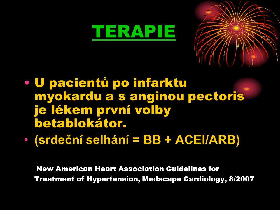 TERAPIE •U pacientů po infarktu myokardu a s anginou pectoris je lékem první volby betablokátor. •(srdeční selhání = BB + ACEI/ARB) New American Heart