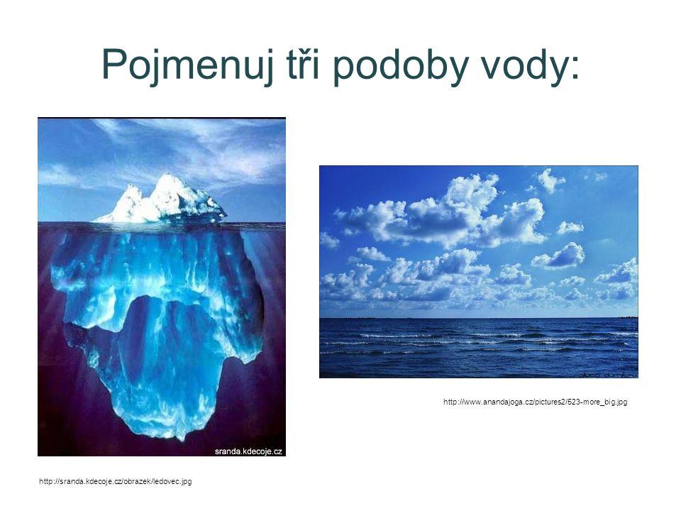 Pojmenuj tři podoby vody: http://sranda.kdecoje.cz/obrazek/ledovec.jpg http://www.anandajoga.cz/pictures2/523-more_big.jpg