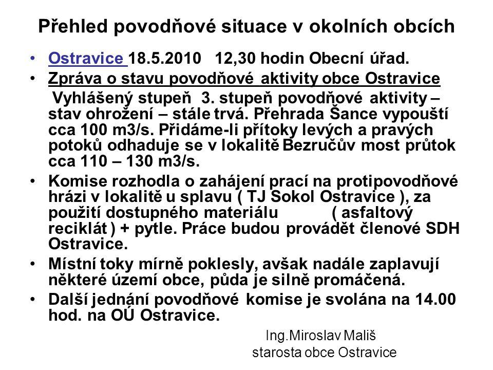 Přehled povodňové situace v okolních obcích •Ostravice 18.5.2010 12,30 hodin Obecní úřad. •Zpráva o stavu povodňové aktivity obce Ostravice Vyhlášený
