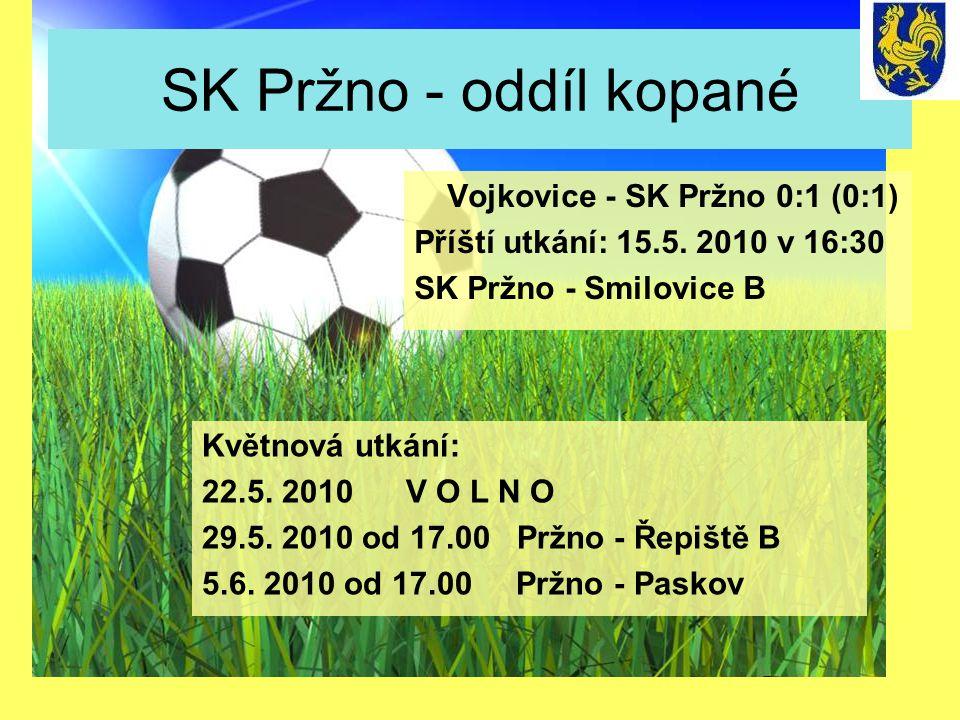 SK Pržno - oddíl kopané Květnová utkání: 22.5. 2010 V O L N O 29.5. 2010 od 17.00 Pržno - Řepiště B 5.6. 2010 od 17.00 Pržno - Paskov Vojkovice - SK P