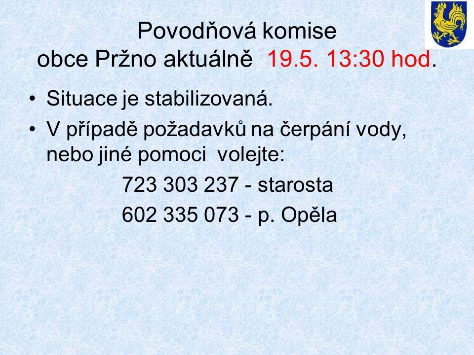 Povodňová komise obce Pržno aktuálně 19.5. 13:30 hod. •Situace je stabilizovaná. •V případě požadavků na čerpání vody, nebo jiné pomoci volejte: 723 3