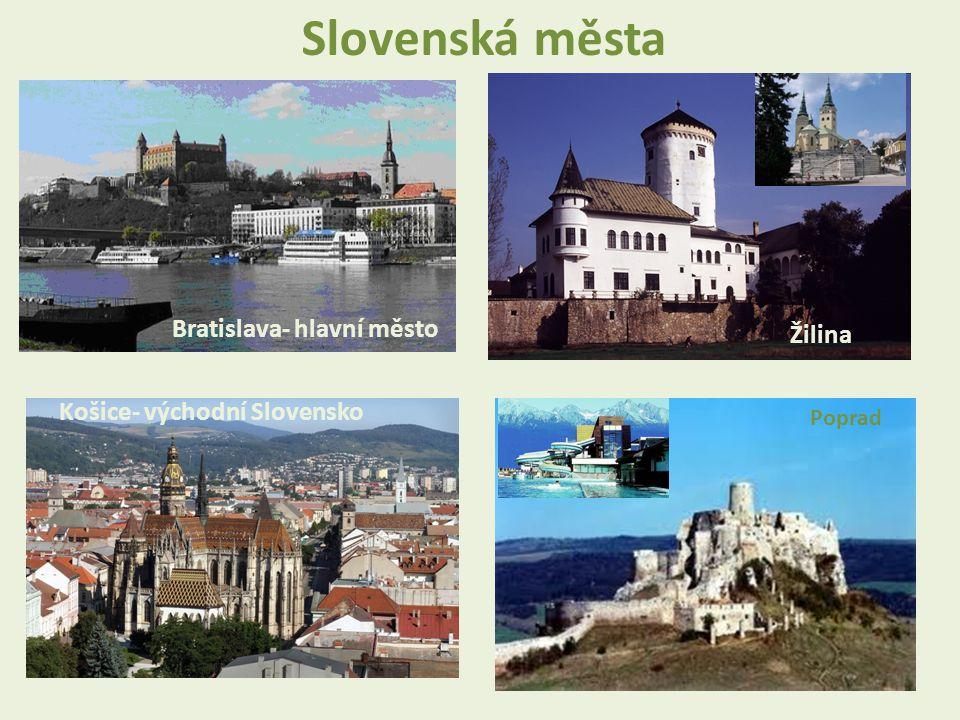 Bratislava- hlavní město Košice- východní Slovensko Žilina Poprad Slovenská města