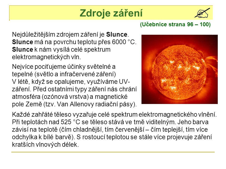 Zdroje záření (Učebnice strana 96 – 100) Nejdůležitějším zdrojem záření je Slunce.