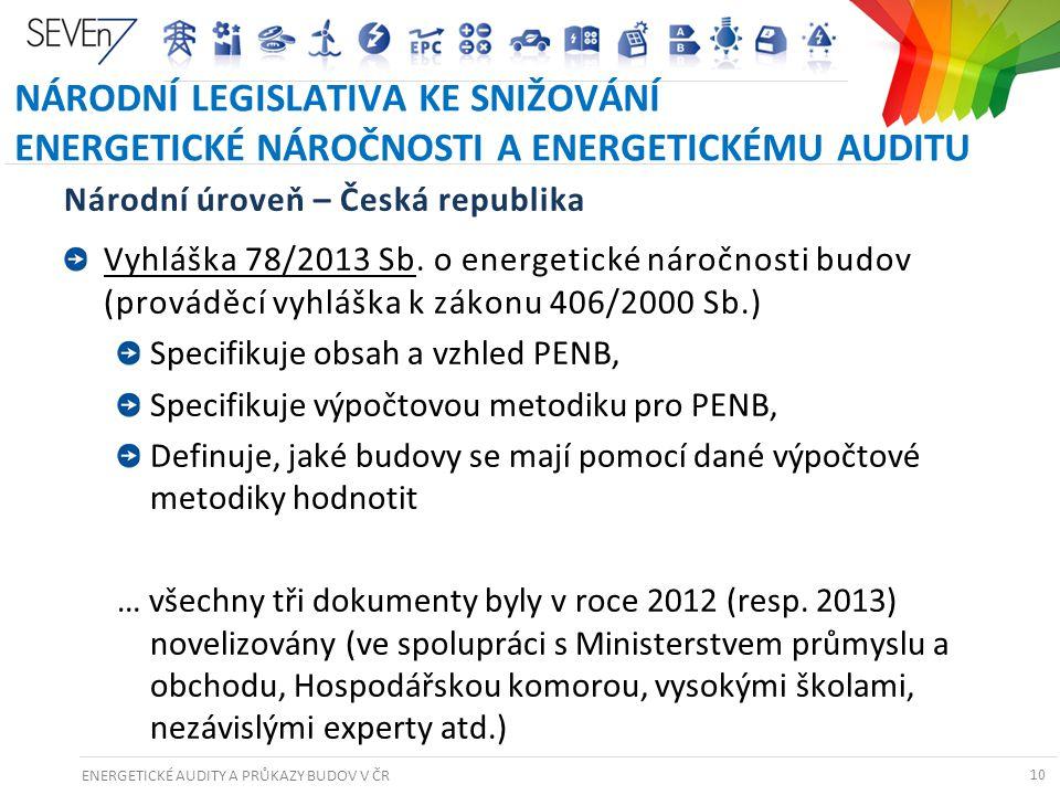 ENERGETICKÉ AUDITY A PRŮKAZY BUDOV V ČR 10 NÁRODNÍ LEGISLATIVA KE SNIŽOVÁNÍ ENERGETICKÉ NÁROČNOSTI A ENERGETICKÉMU AUDITU Národní úroveň – Česká repub