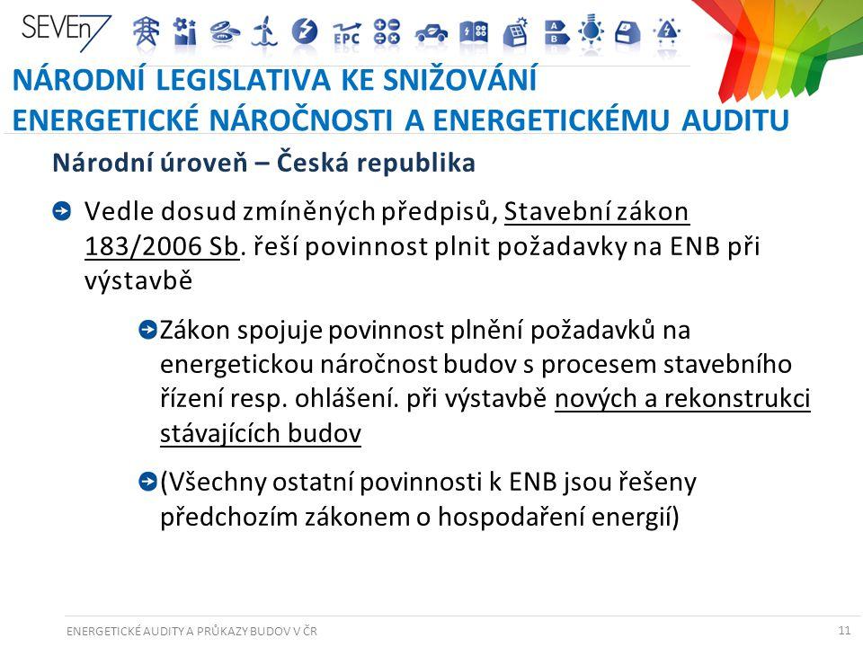 ENERGETICKÉ AUDITY A PRŮKAZY BUDOV V ČR 11 NÁRODNÍ LEGISLATIVA KE SNIŽOVÁNÍ ENERGETICKÉ NÁROČNOSTI A ENERGETICKÉMU AUDITU Národní úroveň – Česká repub