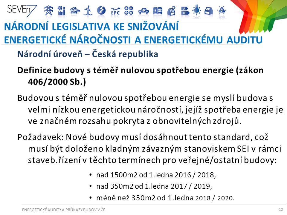 ENERGETICKÉ AUDITY A PRŮKAZY BUDOV V ČR 12 NÁRODNÍ LEGISLATIVA KE SNIŽOVÁNÍ ENERGETICKÉ NÁROČNOSTI A ENERGETICKÉMU AUDITU Národní úroveň – Česká repub