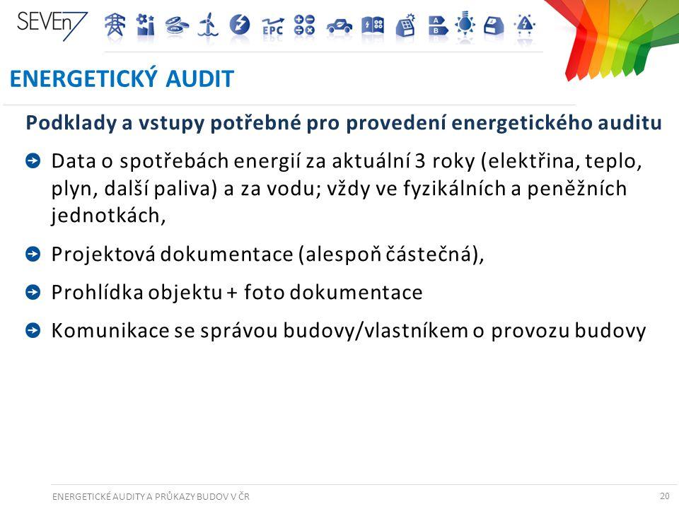 ENERGETICKÉ AUDITY A PRŮKAZY BUDOV V ČR 20 ENERGETICKÝ AUDIT Podklady a vstupy potřebné pro provedení energetického auditu Data o spotřebách energií z