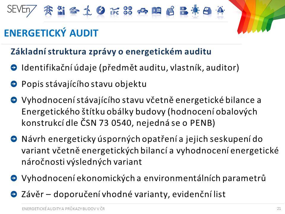 ENERGETICKÉ AUDITY A PRŮKAZY BUDOV V ČR 21 ENERGETICKÝ AUDIT Základní struktura zprávy o energetickém auditu Identifikační údaje (předmět auditu, vlas