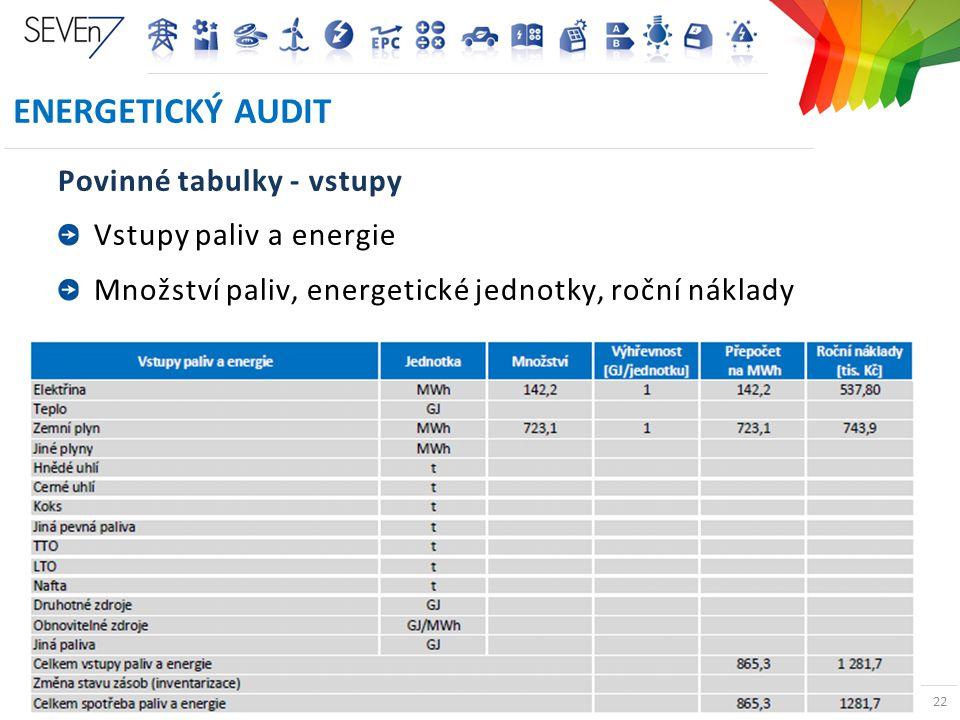 ENERGETICKÉ AUDITY A PRŮKAZY BUDOV V ČR 22 ENERGETICKÝ AUDIT Povinné tabulky - vstupy Vstupy paliv a energie Množství paliv, energetické jednotky, roč