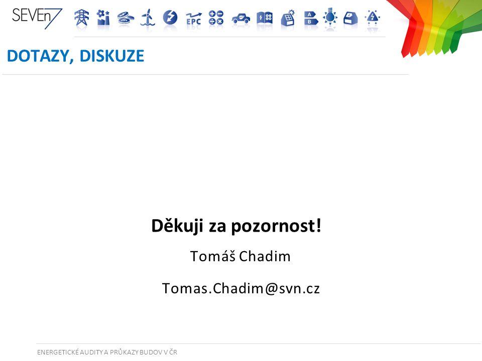 ENERGETICKÉ AUDITY A PRŮKAZY BUDOV V ČR 45 Tomáš Chadim Tomas.Chadim@svn.cz DOTAZY, DISKUZE Děkuji za pozornost!