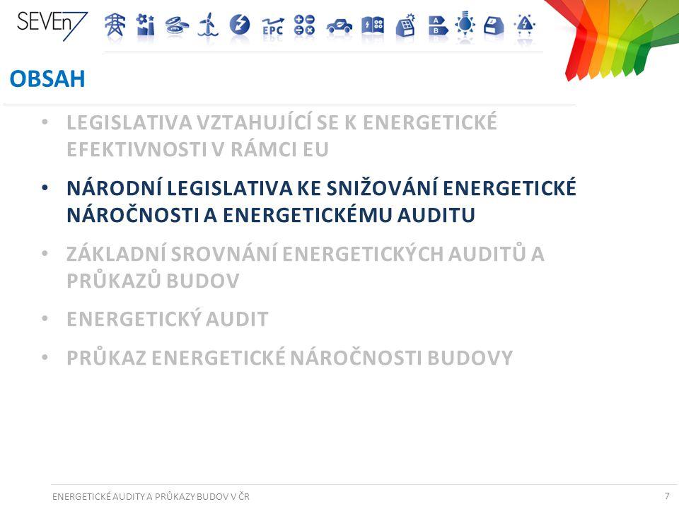 ENERGETICKÉ AUDITY A PRŮKAZY BUDOV V ČR 7 OBSAH • LEGISLATIVA VZTAHUJÍCÍ SE K ENERGETICKÉ EFEKTIVNOSTI V RÁMCI EU • NÁRODNÍ LEGISLATIVA KE SNIŽOVÁNÍ E