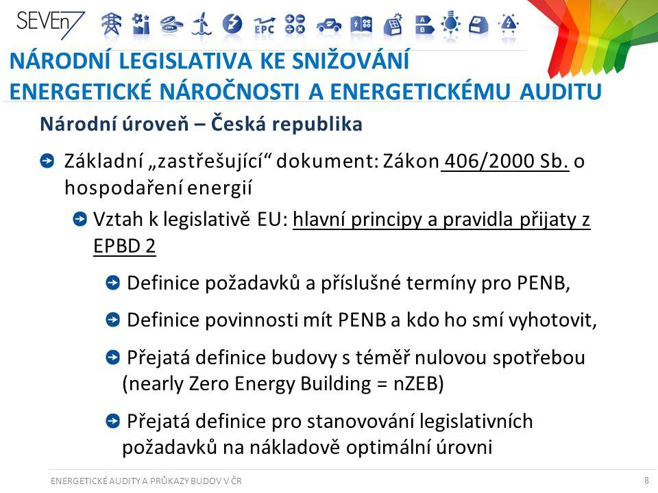 ENERGETICKÉ AUDITY A PRŮKAZY BUDOV V ČR 8 NÁRODNÍ LEGISLATIVA KE SNIŽOVÁNÍ ENERGETICKÉ NÁROČNOSTI A ENERGETICKÉMU AUDITU Národní úroveň – Česká republ