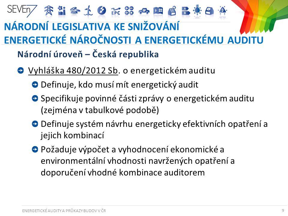 ENERGETICKÉ AUDITY A PRŮKAZY BUDOV V ČR 9 NÁRODNÍ LEGISLATIVA KE SNIŽOVÁNÍ ENERGETICKÉ NÁROČNOSTI A ENERGETICKÉMU AUDITU Národní úroveň – Česká republ