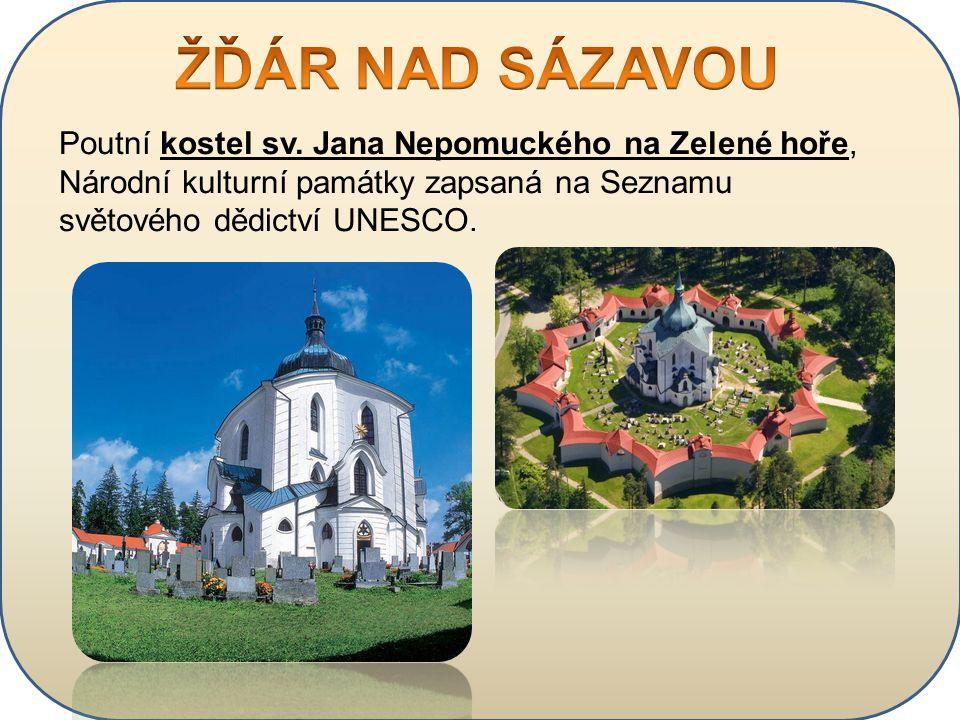 Poutní kostel sv. Jana Nepomuckého na Zelené hoře, Národní kulturní památky zapsaná na Seznamu světového dědictví UNESCO.