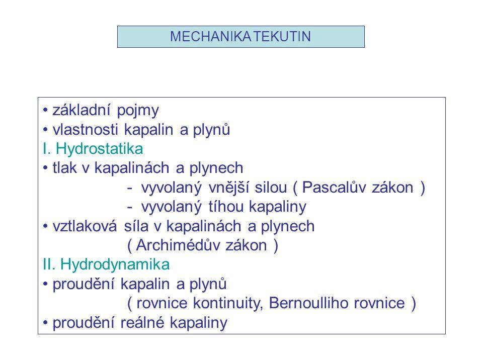 MECHANIKA TEKUTIN • základní pojmy • vlastnosti kapalin a plynů I. Hydrostatika • tlak v kapalinách a plynech - vyvolaný vnější silou ( Pascalův zákon
