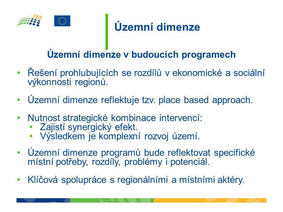 Územní dimenze v budoucích programech •Řešení prohlubujících se rozdílů v ekonomické a sociální výkonnosti regionů. •Územní dimenze reflektuje tzv. pl
