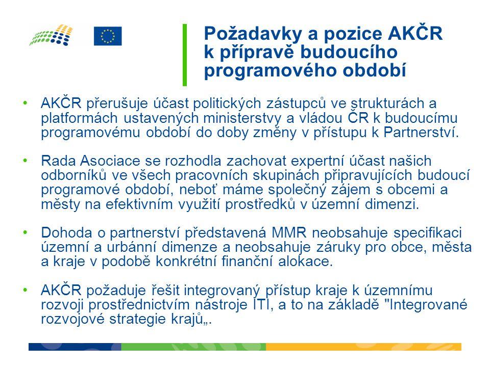 Požadavky a pozice AKČR k přípravě budoucího programového období •AKČR přerušuje účast politických zástupců ve strukturách a platformách ustavených ministerstvy a vládou ČR k budoucímu programovému období do doby změny v přístupu k Partnerství.