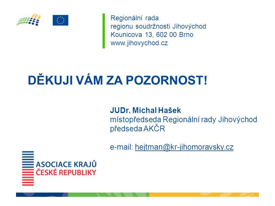 Regionální rada regionu soudržnosti Jihovýchod Kounicova 13, 602 00 Brno www.jihovychod.cz DĚKUJI VÁM ZA POZORNOST! JUDr. Michal Hašek místopředseda R