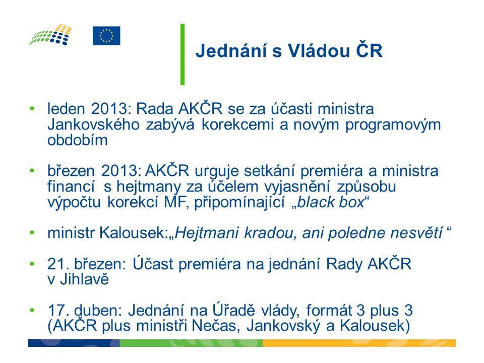 Jednání s Vládou ČR •leden 2013: Rada AKČR se za účasti ministra Jankovského zabývá korekcemi a novým programovým obdobím •březen 2013: AKČR urguje se
