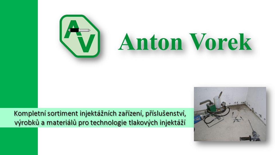 Kompletní sortiment injektážních zařízení, příslušenství, výrobků a materiálů pro technologie tlakových injektáží