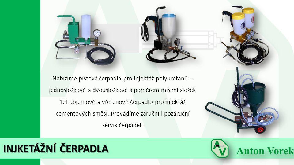 INJKETÁŽNÍ ČERPADLA Nabízíme pístová čerpadla pro injektáž polyuretanů – jednosložkové a dvousložkové s poměrem mísení složek 1:1 objemově a vřetenové čerpadlo pro injektáž cementových směsí.