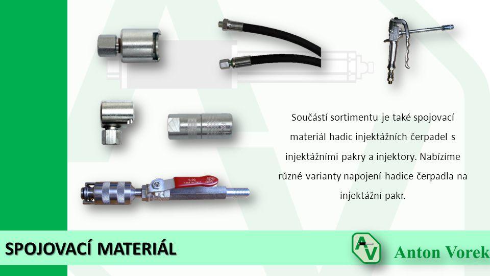 SPOJOVACÍ MATERIÁL Součástí sortimentu je také spojovací materiál hadic injektážních čerpadel s injektážními pakry a injektory. Nabízíme různé variant