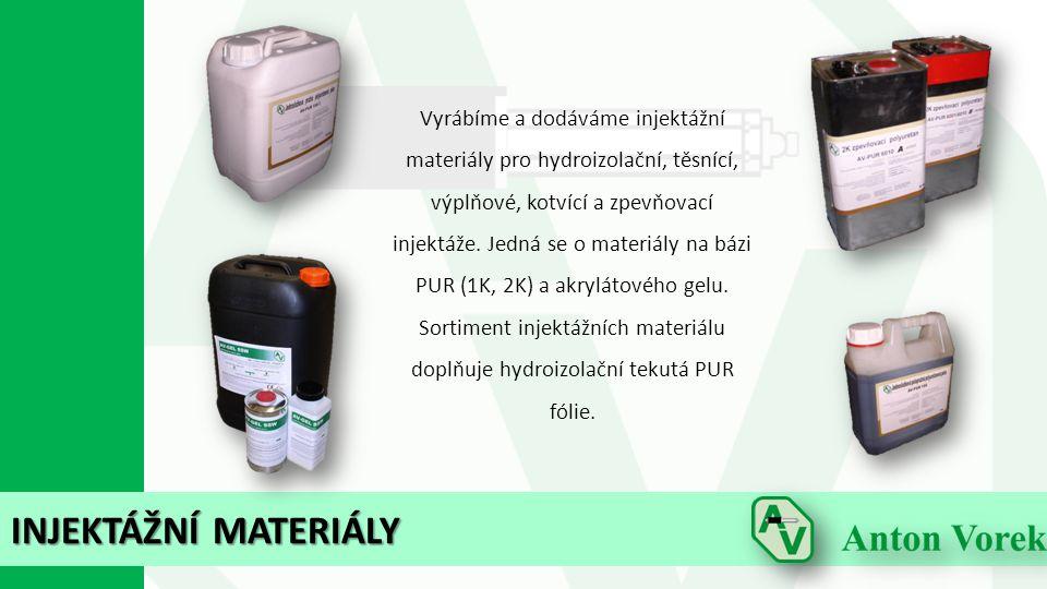 INJEKTÁŽNÍ MATERIÁLY Vyrábíme a dodáváme injektážní materiály pro hydroizolační, těsnící, výplňové, kotvící a zpevňovací injektáže. Jedná se o materiá