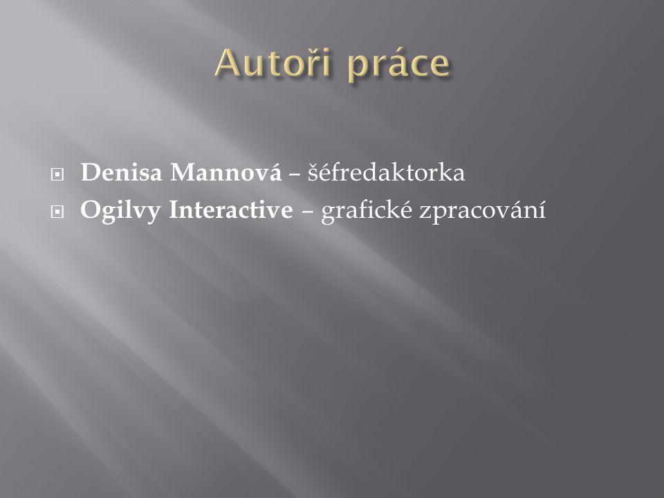  Denisa Mannová – šéfredaktorka  Ogilvy Interactive – grafické zpracování
