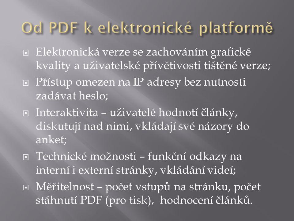  Elektronická verze se zachováním grafické kvality a uživatelské přívětivosti tištěné verze;  Přístup omezen na IP adresy bez nutnosti zadávat heslo