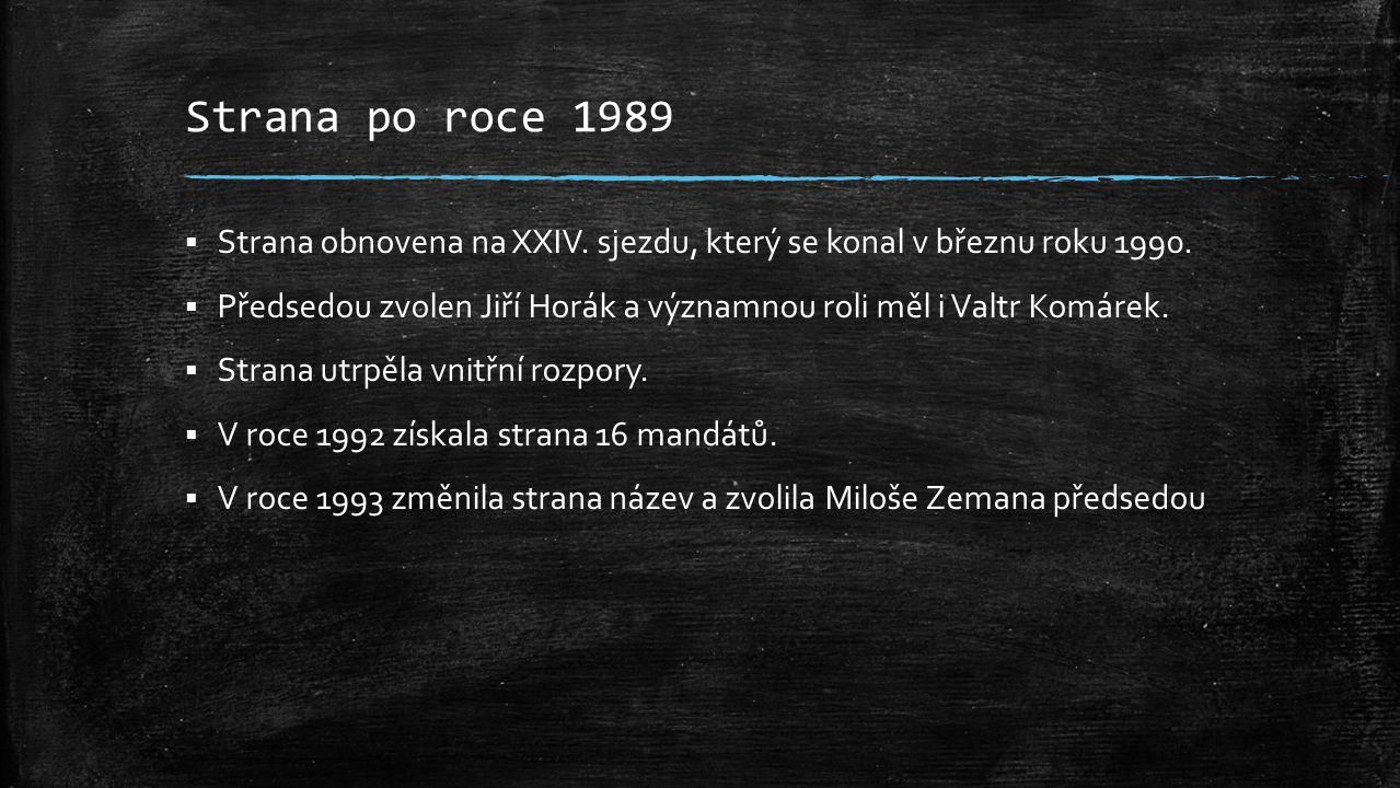 Strana po roce 1989  Strana obnovena na XXIV.sjezdu, který se konal v březnu roku 1990.