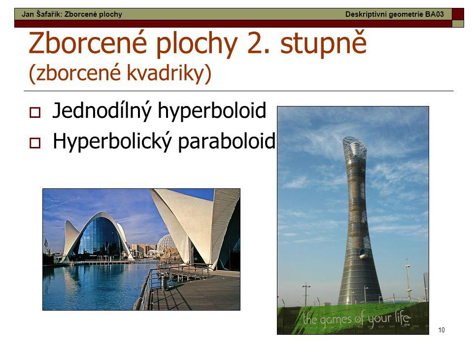10 Zborcené plochy 2. stupně (zborcené kvadriky)  Jednodílný hyperboloid  Hyperbolický paraboloid Jan Šafařík: Zborcené plochyDeskriptivní geometrie