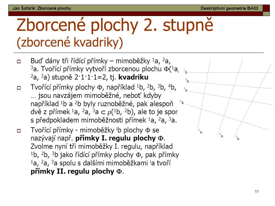 11 Zborcené plochy 2. stupně (zborcené kvadriky)  Buď dány tři řídící přímky – mimoběžky 1 a, 2 a, 3 a. Tvořící přímky vytvoří zborcenou plochu  ( 1