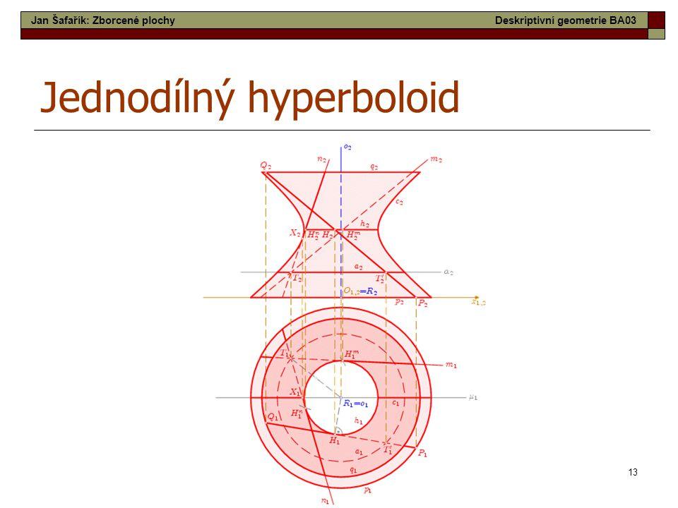 13 Jednodílný hyperboloid Jan Šafařík: Zborcené plochyDeskriptivní geometrie BA03