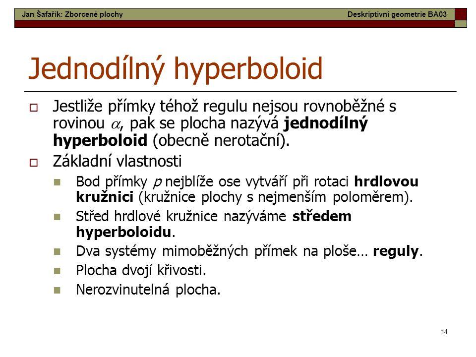 14 Jednodílný hyperboloid  Jestliže přímky téhož regulu nejsou rovnoběžné s rovinou , pak se plocha nazývá jednodílný hyperboloid (obecně nerotační)