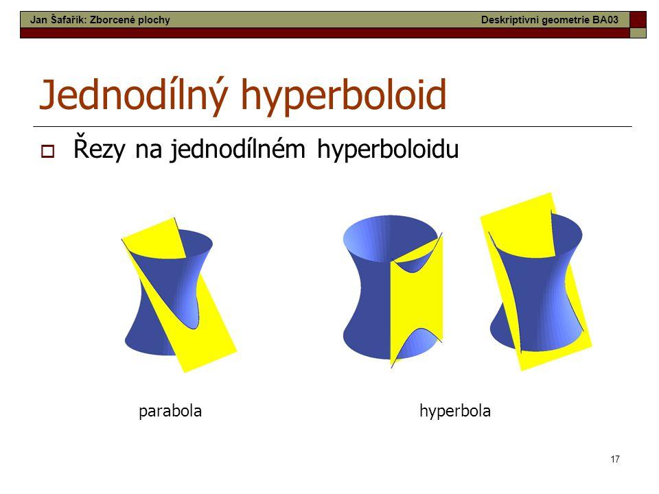 17 Jednodílný hyperboloid  Řezy na jednodílném hyperboloidu parabolahyperbola Jan Šafařík: Zborcené plochyDeskriptivní geometrie BA03